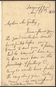 Emily Tennyson autograph letter signed to Mr. Gatty, Farringford, [Isle of Wight], 26 May 1860