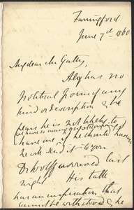 Emily Tennyson autograph letter signed to Mr. Gatty, Farringford, [Isle of Wight], 7 June 1860