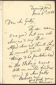 Emily Tennyson autograph letter signed to Mr. Gatty, Farringford, [Isle of Wight], 11 June 1860