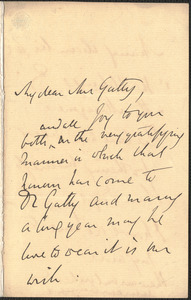 Emily Tennyson autograph letter signed to Mrs. Gatty, Farringford, [Isle of Wight], 22 November 1860