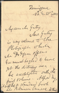 Emily Tennyson autograph letter signed to Mr. Gatty, Farringford, [Isle of Wight], 28 November 1860