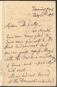 Emily Tennyson autograph letter signed to Dr. Gatty, Farringford, [Isle of Wight], 21 February 1861