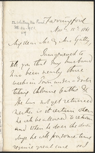 Emily Tennyson autograph letter signed to Mr. and Mrs. Gatty, Farringford, [Isle of Wight], 15 November 1861