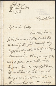 Emily Tennyson autograph letter signed to Mrs. Gatty, Clifton House, Queen's Parade, Harrogate, 14 August 1863