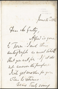 Emily Tennyson autograph letter signed to Mr. Gatty, Farringford, Isle of Wight, 14 June 1864