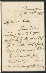 Emily Tennyson autograph letter signed to Mrs. Gatty, Farringford, [Isle of Wight], 7 December 1867