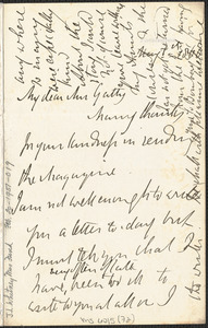 Emily Tennyson autograph letter signed to Mrs. Gatty, Farringford, [Isle of Wight], 1 May 1866