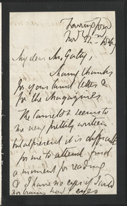 Emily Tennyson autograph letter signed to Mr. Gatty, Farringford, [Isle of Wight], 22 November 1867