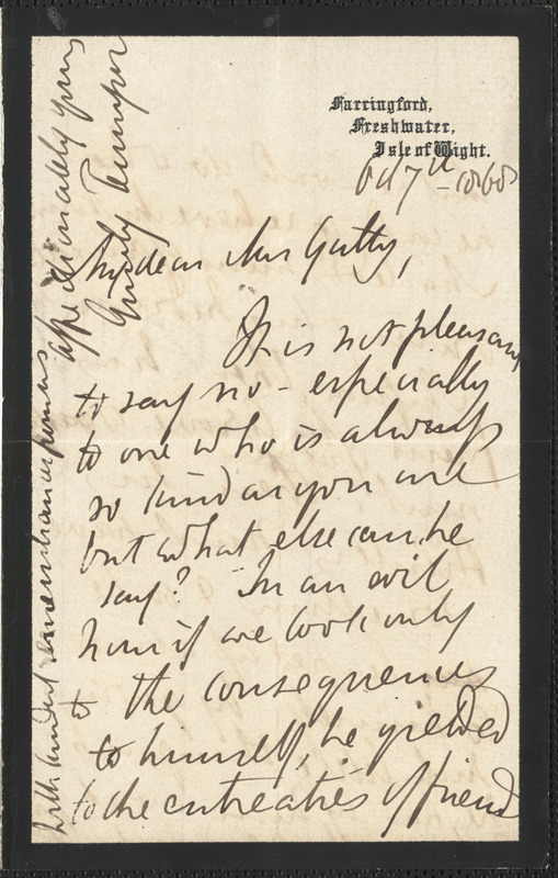 Emily Tennyson autograph letter signed to Mrs. Gatty, Farringford, Isle of Wight,7 October 1868