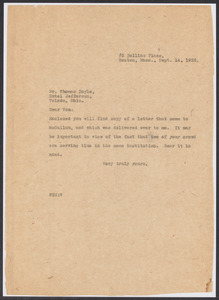Sacco-Vanzetti Case Records, 1920-1928. Defense Papers. Western Mob: Moore to Doyle (enclosures). Box 5, Folder 26, Harvard Law School Library, Historical & Special Collections