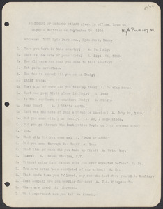 Sacco-Vanzetti Case Records, 1920-1928. Defense Papers. Materials re: Orciani, Boda, Coacci, Carbonieri, Bostock, Manning, Ray: Statement of Recardo Orciani (interview), September 29, 1920. Box 5, Folder 50, Harvard Law School Library, Historical & Special Collections