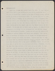 Sacco-Vanzetti Case Records, 1920-1928. Defense Papers. Materials re: Orciani, Boda, Coacci, Carbonieri, Bostock, Manning, Ray: Typed notes of F.H. Moore re: Ventolo, March 31, 1921. Box 5, Folder 54, Harvard Law School Library, Historical & Special Collections