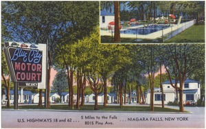 Blue City Motor Court. U.S. Highways 18 and 62, 5 miles to the falls, 8015 Pine Ave. Niagara Falls, New York