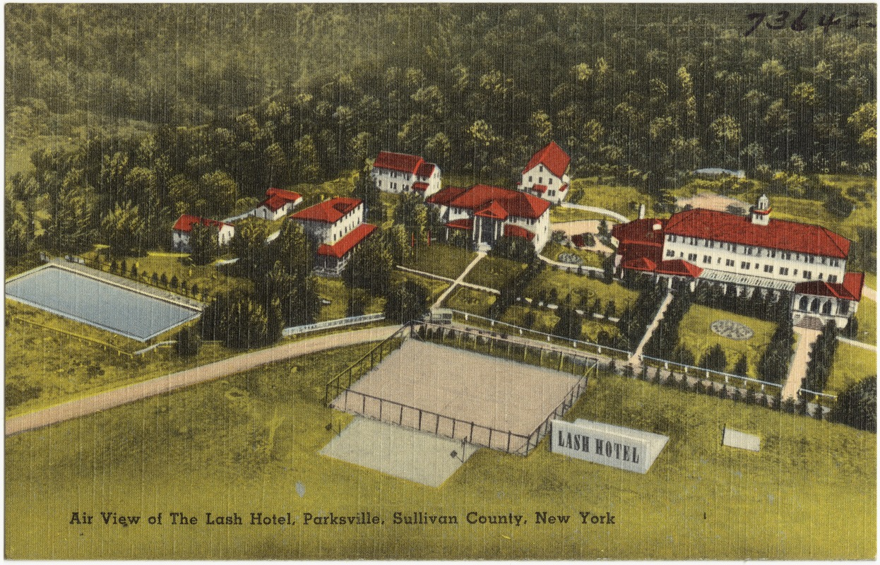 Air view of the Lash Hotel, Parksville, Sullivan County, New York