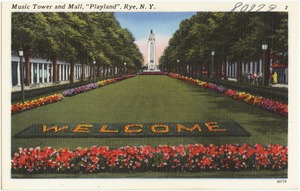 "Music tower and mall, ""Playland"", Rye, N. Y."