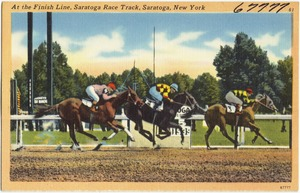 At the finish line, Saratoga Race Track, Saratoga, New York