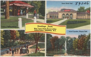 Greetings from New York state reservation, Saratoga Springs, N. Y.