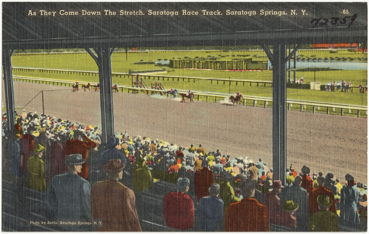 As they come down the stretch, Saratoga Race Track, Saratoga Springs, N. Y.
