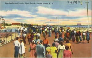Boardwalk and beach, South Beach, Staten Island, N. Y.