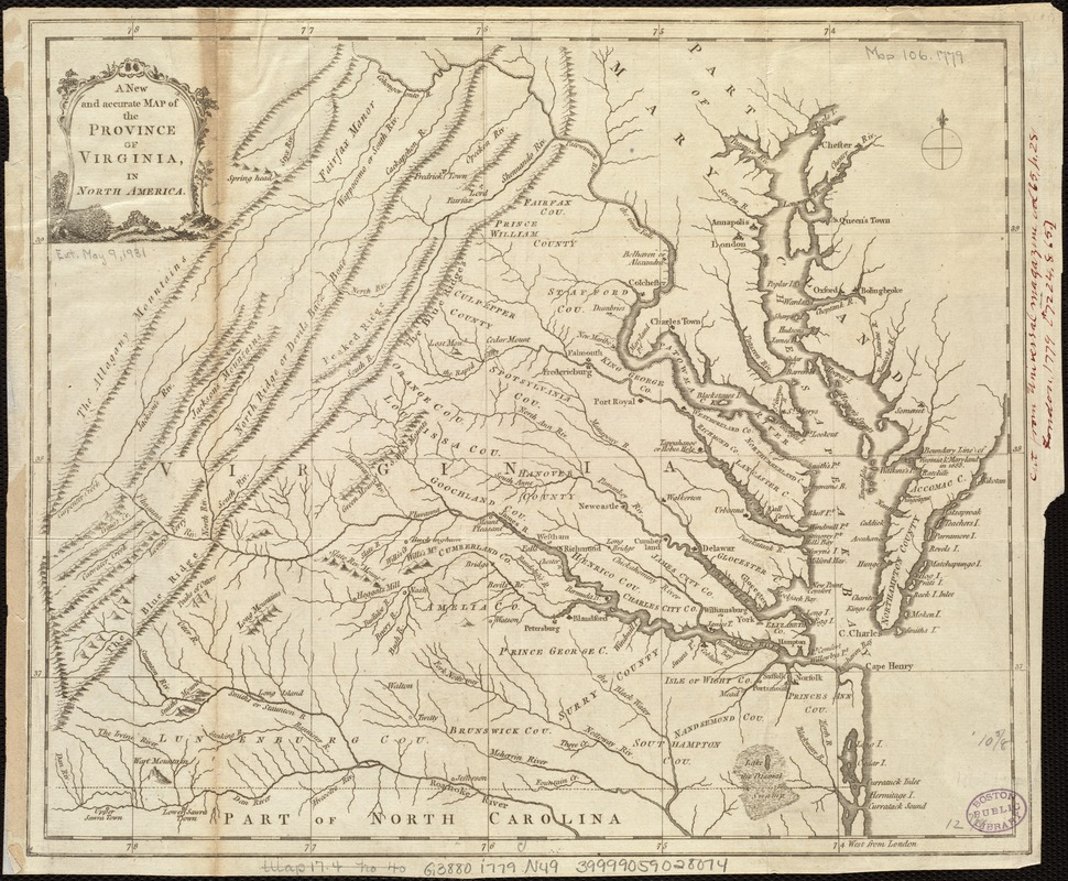 A new and accurate map of the province of Virginia in North America