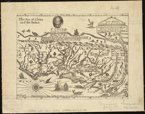 A mapp of Virginia discouered to ye hills, and in its latt: from 35 deg: & 1/2 neer Florida, to 41 deg: bounds of new England