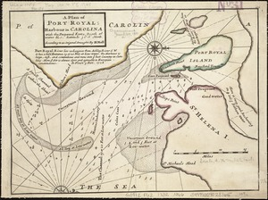A plan of Port Royal harbour in Carolina with the proposed forts, depth of water &c