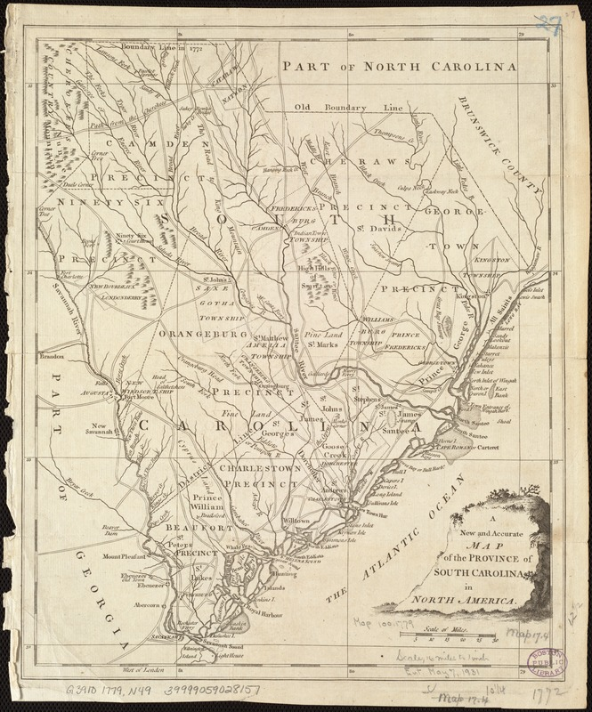 A New and accurate map of the province of South Carolina in North America