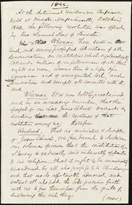 Draft of a resolution of slavery from Samuel May, Jr., Worcester, [Mass.], [October?] 1842