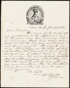 Letter from Oliver Johnson, New York, [N.Y.], to William Lloyd Garrison, June 23, 1841