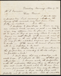 Letter from Francis Jackson, [Place of publication not identified], to William Lloyd Garrison, Mar[ch]. 9. [18]'52