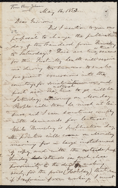 Letter from Oliver Johnson, [Place of publication not identified], to William Lloyd Garrison, May 16, 1853