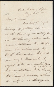 Letter from Oliver Johnson, [New York?],[N.Y], to William Lloyd Garrison, Aug. 25, 1853