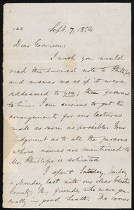 Letter from Oliver Johnson, [Place of publication not identified], to William Lloyd Garrison, Sept[ember] 7, 1854
