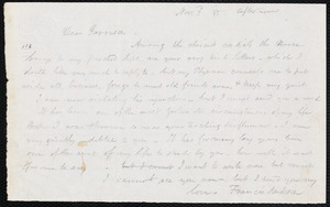 Letter from Francis Jackson, [Place of publication not identified], to William Lloyd Garrison, Nov[ember] 3 [18]55