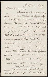 Letter from Oliver Johnson, [Place of publication not identified], to William Lloyd Garrison, July 21, 1859
