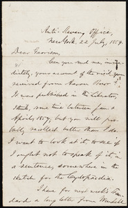 Letter from Oliver Johnson, New York, [N.Y.], to William Lloyd Garrison, 22 July, 1859