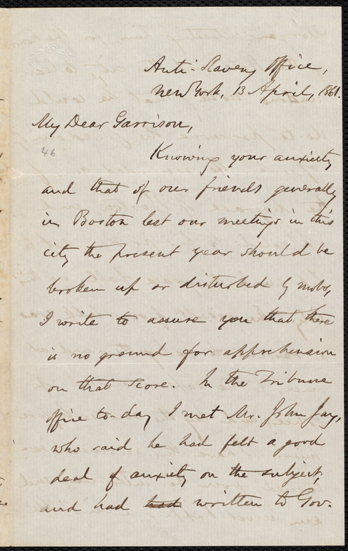 Letter from Oliver Johnson, New York, [N.Y.], to William Lloyd Garrison, 13 April, 1861