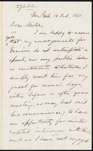 Letter from Oliver Johnson, New York, [N.Y.], to James Miller M'Kim, 12 Oct[ober], 1861