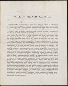 Will of Francis Jackson