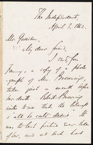 Letter from Theodore Tilton, [New York, N.Y.], to William Lloyd Garrison, April 3, 1862