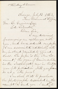 Letter from Mary Ashton Livermore, Chicago, [Ill.], to William Lloyd Garrison, July 13 1863