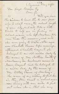Letter from F.H. William, Syracuse, N.Y., to William Lloyd Garrison, Aug[ust] 25 / [18]63