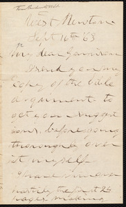 Letter from Theodore Dwight Weld, West Newton, [Mass.], to William Lloyd Garrison, Sept[ember] 16th [18]63