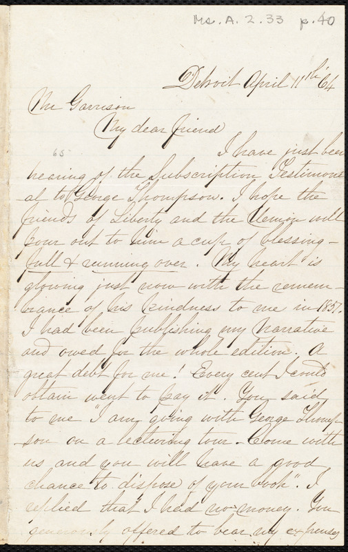 Letter from Sojourner Truth, Detroit, [Mich.], to William Lloyd Garrison, April 11th [18]64