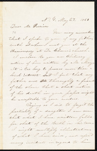 Letter from Mrs J. P. Mann, [New York], N.Y., to William Lloyd Garrison, May 27. 1864