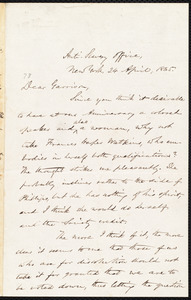 Letter from Oliver Johnson, New York, [N.Y.], to William Lloyd Garrison, 24 April, 1865