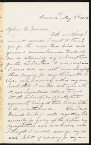 Letter from Sarah H. Pillsbury, Concord, [Mass.], to William Lloyd Garrison, May 3rd 1865