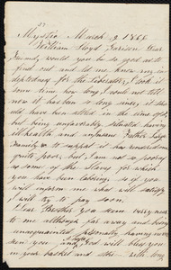 Letter from Timothy Whipple, Mystic, [Conn.], to William Lloyd Garrison, March 9, 1866
