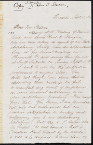 Copy of a letter from Samuel May, Jr., Lecester, to Caleb Stetson, Sept. 8, [18]54