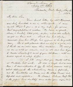 Letter from Samuel May, Jr., Leicester, to Samuel Joseph May, Wed Eveg., May 15, 1850
